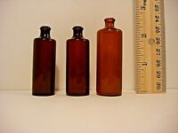 """Collectible Lot of Miniature Amber Bottles-Lot of 3: APPX SIZE; 2.25""""2.25''2.50"""""""