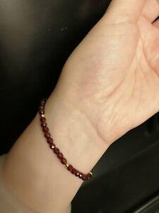 Crazy Deal!! Solid 18K Gold and Garnet Beads Bracelet!!! Lifetime guaranteed!!!