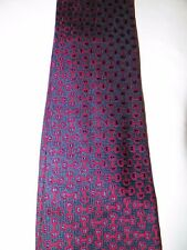 """MEN'S VINTAGE GUCCI BLUE WITH RED HORSE BITS SILK TIE 3 3/4"""" WIDE"""