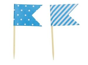 24 x Blue Cup Cake Toppers - Flags - Dots & Stripes - Cake Decorations