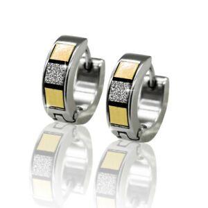 1 Pair Creole Earrings Stainless Steel Clips Hoop Studs Red Silver Green