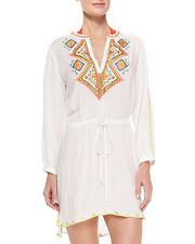 Shoshanna Embroidered Voile Drawstring Tunic Swim Cover Up Dress Sz L White K1