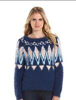 NWT Women's LC Lauren Conrad Fairisle Eyelash Boatneck Sweater Navy/Green 2XL