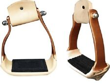 "Angled Copper Aluminum Barrel Racing Stirrups Leather Wrap Rubber Tread 3.5""neck"