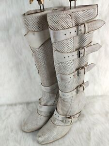 "VIVIENNE WESTWOOD PIRATE BOOT 15"" Knee High Boot Heels Perforated Distressed S40"