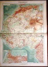 Carta geografica antica AFRICA NORD OVEST GIBILTERR De Agostini 1927 Antique map