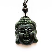 Tibet Buddhist Sakyamuni Buddha Black Green Jade Amulet Pendant