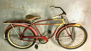 Western Flyer Antique bicycle with fenders, chain guard, rack.