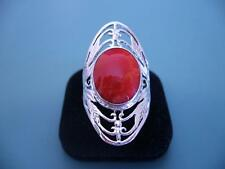 LARGE STERLING SILVER RED CORAL GEMSTONE FILIGREE RING - 9.5 / S.5 - 6G
