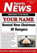 A5 Personalised Rangers  Football Chairman Greeting Birthday Card PID023