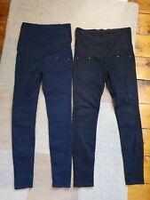 Maternity bundle 2 pairs H&M over bump jeans size 38 EU 10 UK black blue