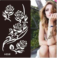 Body STENCIL per tatuaggio tattoo temporaneo colori henné FLOWERS FIORI 18x9cm