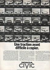Publicité Advertising 1977  HONDA CIVIC