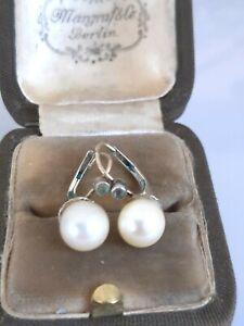 Zauberhafte antike Ohrringe Silber 835 vergoldet, Art Deko, besetzt mit Perle