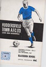 HUDDERSFIELD TOWN v BLACKBURN ROVERS ~ 30 SEPTEMBER 1967 ~ FOOTBALL PROGRAMME