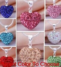 15pcs/lot mixed clay micro pave crystal heart shamballa necklace chain pendant