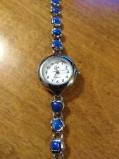 Vintage Cachi Blue stones Ladies watch, running w/new battery installed L