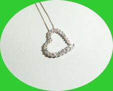 """24""""10KT WHITE GOLD CHAIN WITH 14KT DIAMOND HEART- REAL GOLD!!! RETAIL 899.99"""
