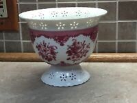 Beautiful Vintage FTD Floral Arrangement Footed Dish Vase, Burgundy Rose Design