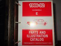 1986 thru 1992 Oldsmobile Parts & Illustration Catalog Manual E Body + Binder