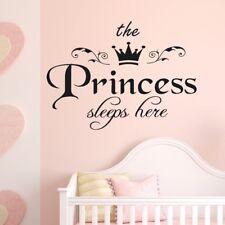 Princess Sleep Here Wall Sticker Girls Room Nursery Home Decoration Decals DIY