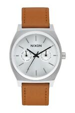 NIXON TIME TELLER DELUXE LEATHER SADDLE 39mm Men's Watch A927 2310-00 NEW!