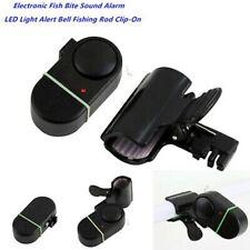 Black Electronic LED Light Fish Bite Sound Alarm Bell Clip On Fishing Rod US