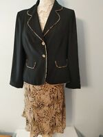 Amanda Lane Skirt Suit Black Blazer with Multi Color Skirt Size 12 EXC