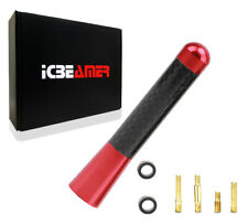 "JDM 3"" Inch Real Carbon Fiber Red Antenna Billet Aluminum For Car & Truck F832"