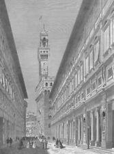 Italy, UFFIZI ART GALLERY FLORENCE DUOMO DAVID STATUE ~ 1882 Art Print Engraving