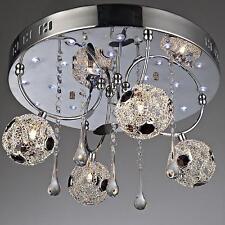 NEW 4-Light Modern Crystal Flash Mount Ceiling Pendant Mesh Wire Lamp Evrosvet