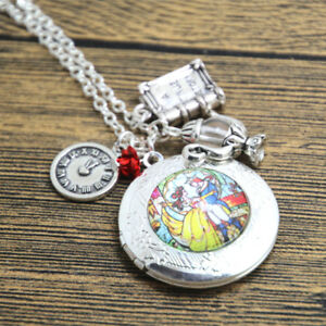 Beauty And The Beast Disney Inspired Necklace Pendant Gift Belle Clock Rose Book