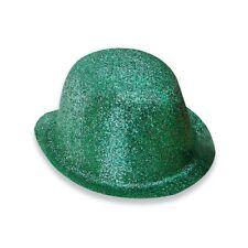 Green Glitter Clowns's Bowler Hat - Dress Fancy Adult Plastic Fancy Dress Party