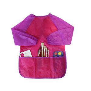 Malschürze Malkittel Kinder Schul Kunstunterricht mit Klettverschluss 3 Taschen