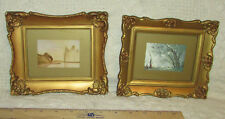 Antique Framed Prints Set Harp Of The Winds-H.D. Martin & Morning At Lake-Corot