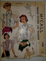 Blouse Top Lace Ruffle Size 14 Pattern Sewing VTG 40's McCall 1458 Cut Checked