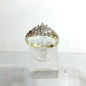 Genuine .35 ct Diamond Cluster Ring 9ct Yellow Gold. Real Diamonds, Real Gold