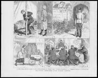 1879 - Antique Print MILITARY Life Canvas Dining Tents Cart Lady Rifle    (053)