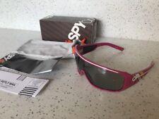 BNIB Spy Sunglasses Tron Pink W/ White Yellow Stripe Grey Mirror