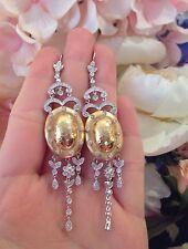 vecchio stile 18K TWOTONE pendente orecchini di diamanti WTH MARTELLATO ORO -