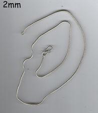 collana bagno argento indiano  CODA DI TOPO 2 mm SNAKE INDIAN SILVER  55 CM