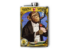 Circus Monkey Smoking Playing Poker Decorated Stainless Steel Flask 8oz FN491