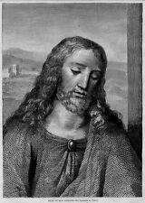 JESUS, HEAD OF OUR SAVIOUR PORTRAIT, ANTIQUE ENGRAVING