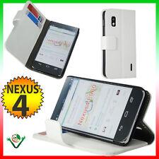Custodia BOOK eco pelle per LG Google Nexus 4 E960 martellata BIANCA stand case
