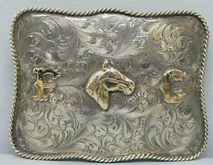 Newman's Silver Sterling & Gold Belt Buckle Horse Head