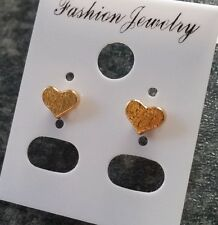 Cute Little Love Heart Stud Earrings, Gold Plated, Family, Friends, Partner.