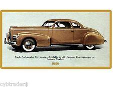 1940 Nash Ambassador Six Coupe  Auto Refrigerator / Tool Box Magnet