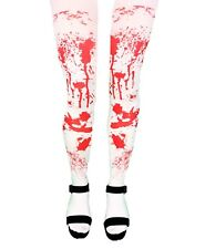 LADIES HALLOWEEN WHITE BLOOD STAINED TIGHTS ZOMBIE FANCY DRESS PARTY COSTUME