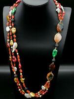 collana lunga di corallo rosso perle agate e lava da donna GIOIELLO ITALIANO