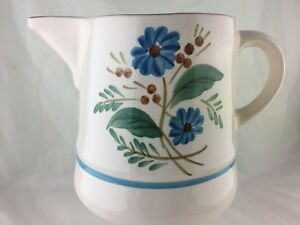 VINTAGE STANGL PITCHER JUG HAND PAINTED BLUE FLOWERS BACHELOR'S BUTTON PATTERN